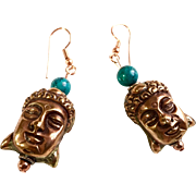 Copper & Turquoise Buddha Earrings, 2-7/16 Inches