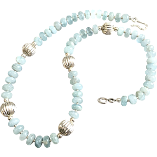 Aquamarine & Sterling Silver Necklace, 18-1/4 Inches