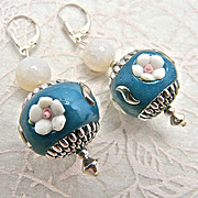 Nepalese Enamel & Agate Earrings, 2-1/4 Inches