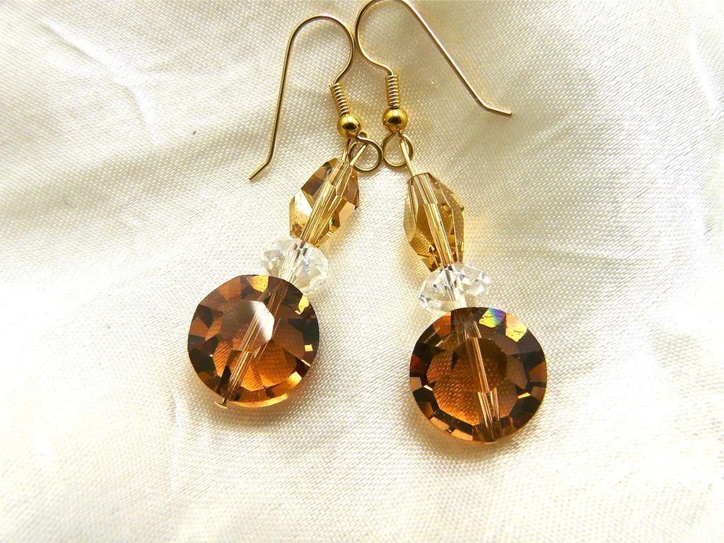 Swarovski Topaz Crystal Earrings, 2-1/8 Inches