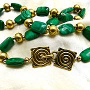 Unisex Malachite and Brass Necklace, 18 Inches