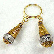 Brass & Crystal Earrings, 2-1/8""