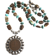 Nepalese Coin, Chinese Turquoise & Sterling Silver Necklace, 20 Inches