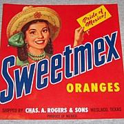 Vintage Sweetmex Orange Crate Label