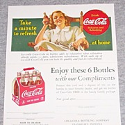 1940's Coca Cola Advertising Card