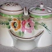 Vintage Hand Painted Condiment Set Salt Dip, Sugar Shaker, Mustard Pot