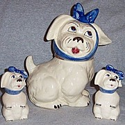 Vintage Shawnee Pottery Muggsy Cookie Jar and Shakers