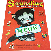1943 Picture Sounding Rhymes Cat Meow Book