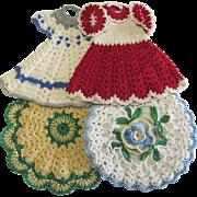 Group of 4 Vintage Crocheted Pot Holders 2 Dresses