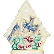 Vintage Birdhouse Wall Pocket Bluebirds & Flowers