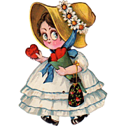 German Die-Cut Valentine Big Eyed Girl Movable Feet