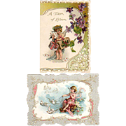 Pair Late 1800's Cupid Valentine Cards