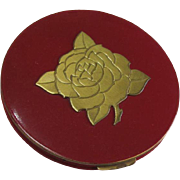 Red Compact Gold Tone Rose Decoration