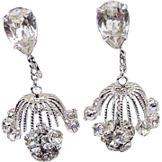 BG187 Napier Chandelier Runway Designer Earrings Ice Clear Crystal Rhinestone Dangles Clip Ons