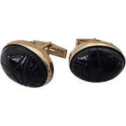BG142 Art Deco 12K Gold Fill Large Scarab Egyptian Revival Cuff Links Molded Black Glass or Carved Onyx