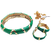 BG209 Bijoux Cascio Italy Bangle Bracelet Bamboo Hoop Earrings Leaf Green Enamel & Gold Tone Set Italian Vintage