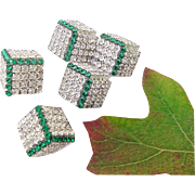 BG26 Art Deco Emerald Green & Clear Ice Crystal Rhinestone Geometric Cubes Dice Brooch Pin and Earrings Demi Parure Set
