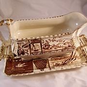 Victorian Aesthetic Brown Transferware Sauceboat & Underplate - Osborne pattern