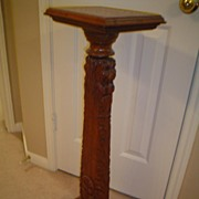 Lion Carved Quartersawn Oak Plant Stand.