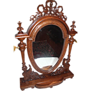 Large, Magnificently Carved Oak Winged Lady Dresser Mirror