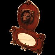 Large Lion Carved Oak Hanging Mirror/Hatrack