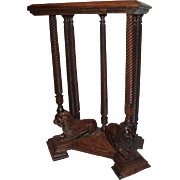 Quartersawn Oak Lion carved Clock Stand