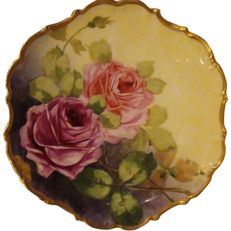 Antique Limoges Hand Painted Wall Plaque w/ Roses