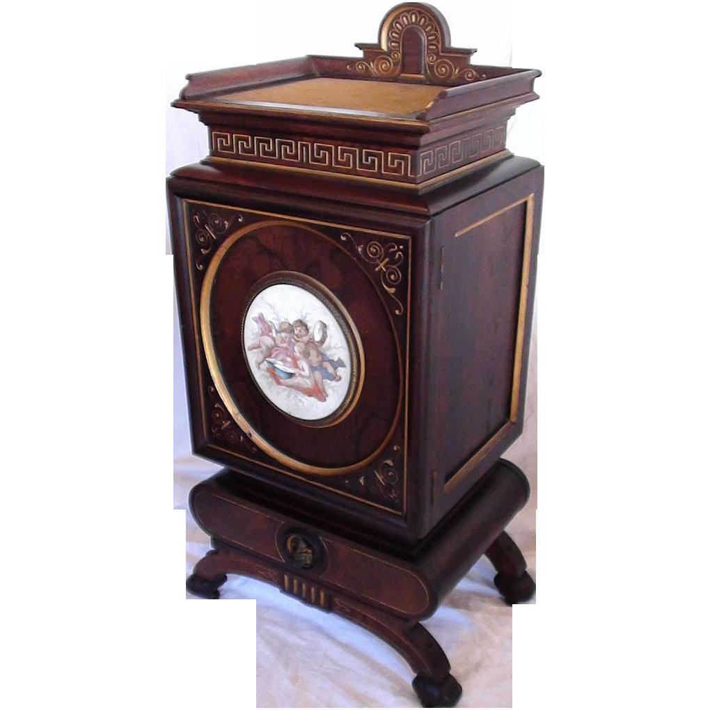 VERY RARE 1870's Rosewood Renaissance Revival Parlor Cabinet w/ Handpainted Porcelain Plaque