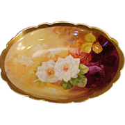 RARE Bronssillon Limoges Hand Painted Small Serving Bowl W/ Roses
