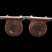 Lion Carved Walnut Clock Shelves