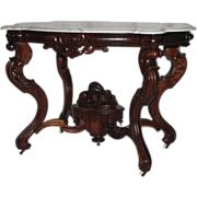 HISTORICALLY VERY IMPORTANT 1860's Rococo Rosewood Victorian Center Table ~ Made by  Mitchell & Rammelsberg for W. P. Huffman ~ Large Carved Basket of Fruit and Flowers