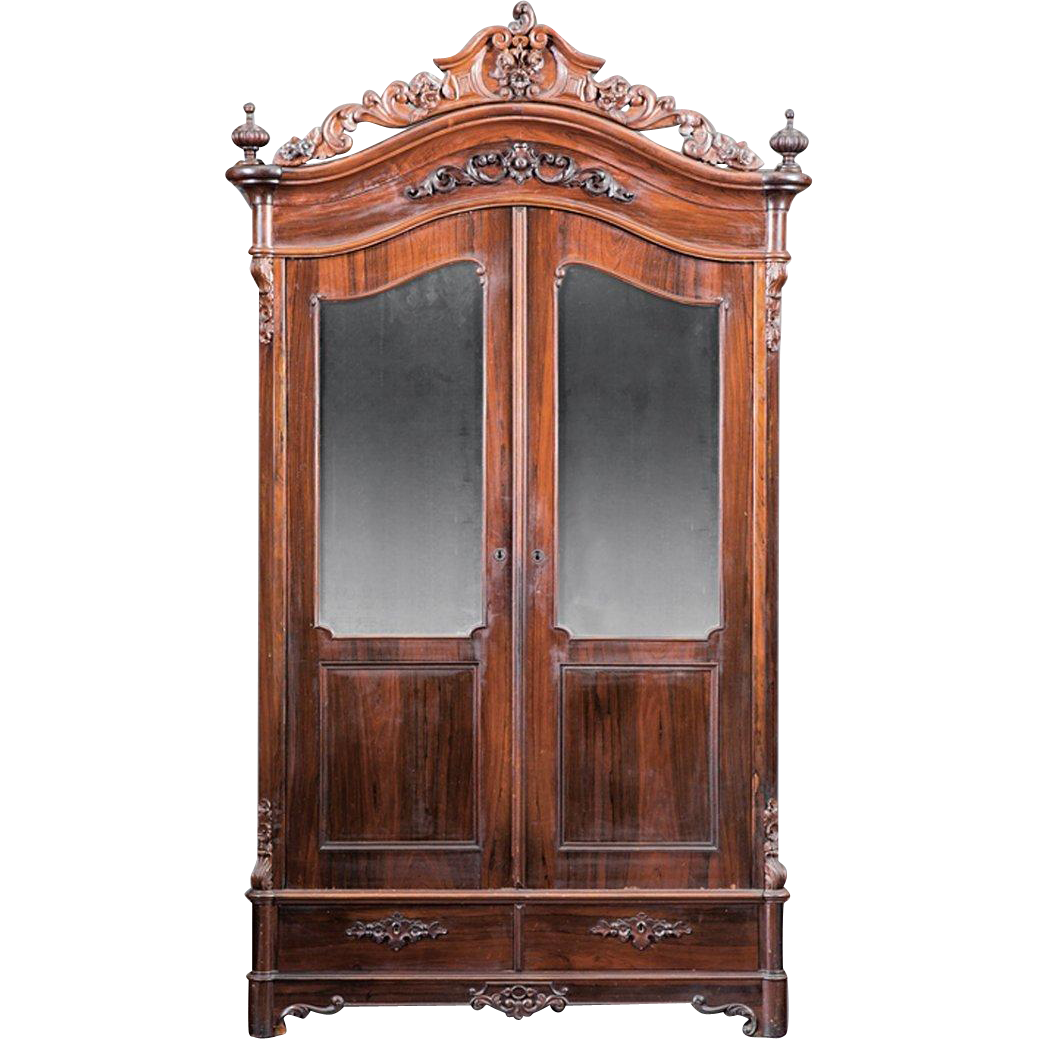American 1850 S Rococo Rosewood Armoire Outstanding