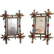 Extremely Rare PAIR of Antique Bronze Jeweled Photo Frames ~ Circa 1850's ~  Outstanding ...