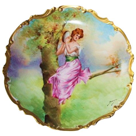 """RARE Limoges """"Orleans"""" 100% Hand Painted Wall Plaque - Signed by Artist Bazanay"""