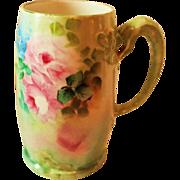 Hand Painted Dragon Handled Mug ~  Hand Painted Roses  ~ Superb Artistry Jean Pouyat JPL Circa 1890 – 1932