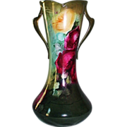 WOW!!  Outstanding HUGE William Guerin Limoges Corset Vase ~ BRILLIANT HANDPAINTED ROSES  ~ Gorgeous Deep Colors  ~ Magnificent Piece of Fine Art ~ Collector Piece ~ Master Artistry  ~  Signed W.G. & Co 1900-1932.
