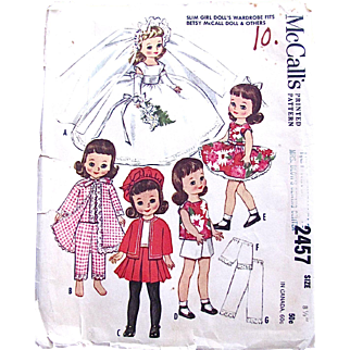 Betsy McCall Doll Clothes Pattern, McCall's 2457 Vintage 1960 Size 8-1/2 Inch, Complete, Mostly Uncut