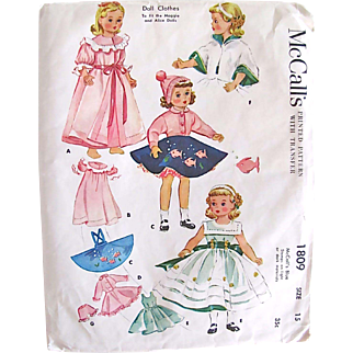 Madame Alexander Doll Clothes Pattern McCall's 1809 Vintage 1950s Size 15 Inch Uncut Factory Folded with Unused Transfer Fits Maggie and Alice