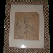 Listed Artist Eugene Higgins (1874 - 1958) Original Pencil Sketch, Double Signed,  Hillside Mountain Village, c 1925