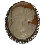 Antique Carved Shell Cameo with Two Portraits in Profile, 19th Century