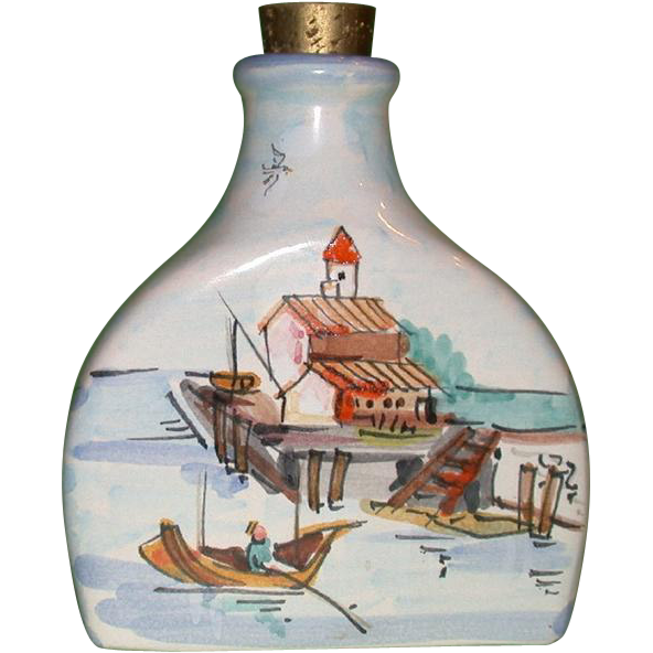 """Beautiful and Unusual, Signed and Numbered Edna Hibel """"Rockport Motif I"""" Bottle, Hand-Painted in Italy"""