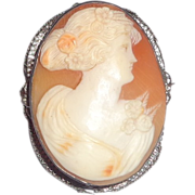 Antique Cameo Of A Woman In Rich Cream Relief, With Shading For The Flower In Her Hair