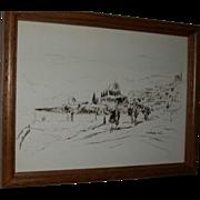 Vintage Drawing of a Landscape, signed by artist, Aharon Giladi. c 1982