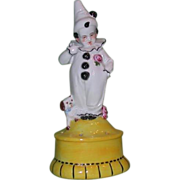 Art Deco Figural Hatpin/Posy Holder, Child in Pierrot Costume With Dog, Germany, c 1920s