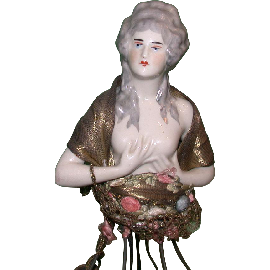 Art Nouveau Half-Doll Lamp, Nude With Grey Hair, Gold Tone Cape and Purse, c 1900