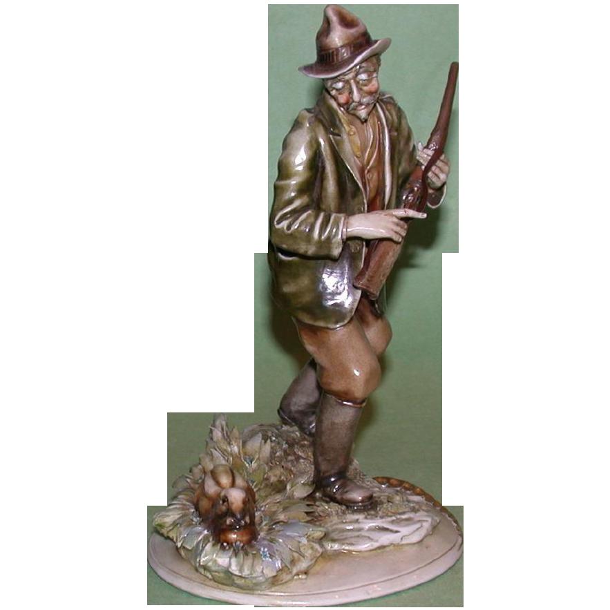 """Borsato -  Multi-Figural Porcelain  """"Hunter With Hare"""""""
