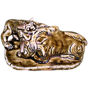 Dramatic and Unusual Asian Sculpture Of Lioness Killing a Water Buffalo