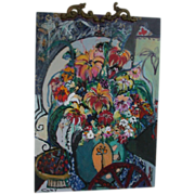 """Original Oil by Listed Artist, Bracha Guy,  One of Israel's Most Popular Contemporary Artists, - """"Bouquet II"""" , Signed"""