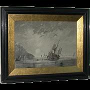 Original Fine Ink Wash, Coastal Landscape, Signed and Dated, PW Brunt,  1912