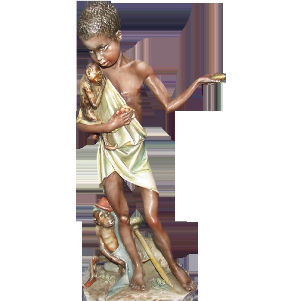 Borsato - Native Boy With Monkeys - Very Unique Multi-Figural Sculpture